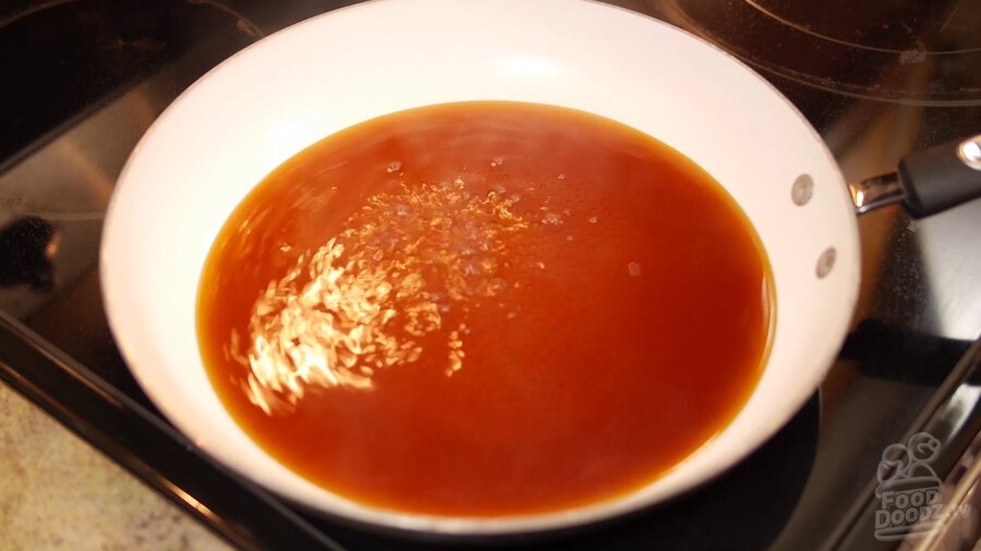 sauce mixture is simmered over medium heat in non-stick skillet