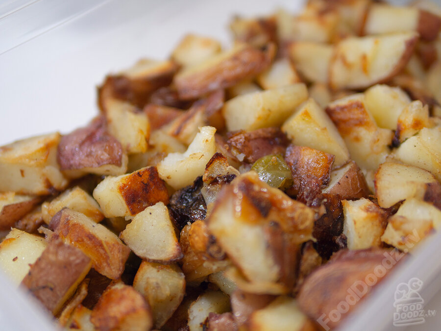 Golden brown chunks of roasted potato with bits of serrano pepper, onion, and garlic dotted here and there. Wow this looks amazingly delicious!