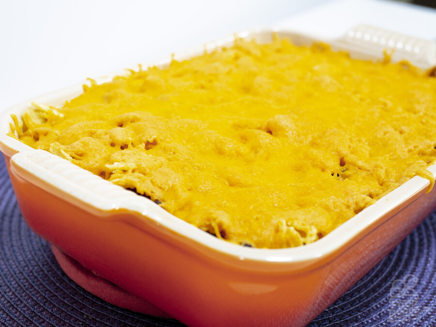 A retro themed holiday casserole dish of mouth watering proportions. This is guaranteed to make you gain a couple pant sizes.