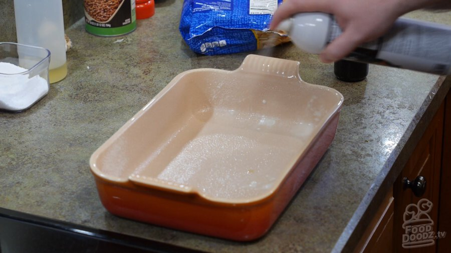 Baking Dish sprayed with cooking oil