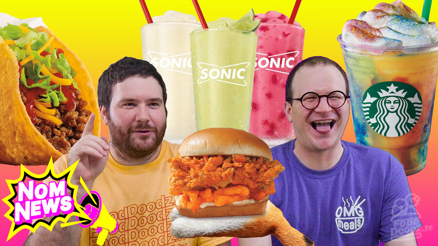 Man holds one finger up explaining while another sticks out tongue surrounded by taco Starbucks Tye-Dye drink Sonic Mocktails KFC Cheetos sandwich