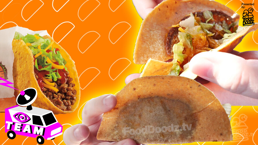 Burger King Taco perfect press photo is shown beside two views of actual nasty and disappointing taco