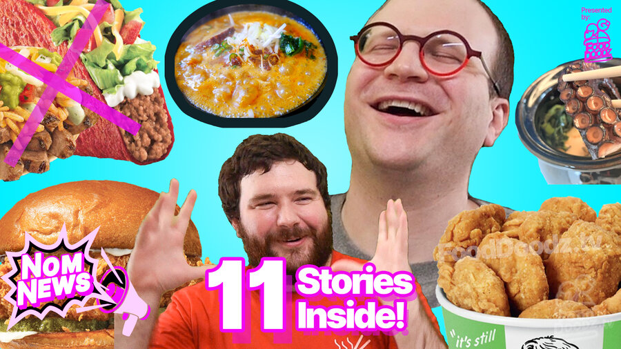 Giant euphoric face in background sits behind man giggling showing how big something was with his hands. They are surrounded by tacos bento box KFC vegan fried chicken ramen and popeyes chicken sandwich