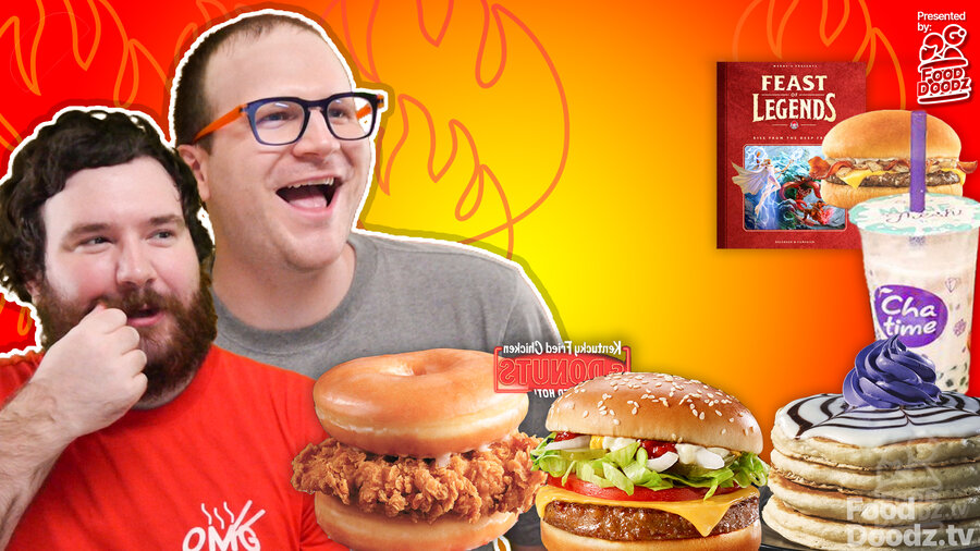 One man twirls beard another with glasses adoringly eyes assortment of bacon cheeseburgers bubble tea frosted pancakes donut chicken sandwich veggie burger and Wendy's D&D with flames in the background