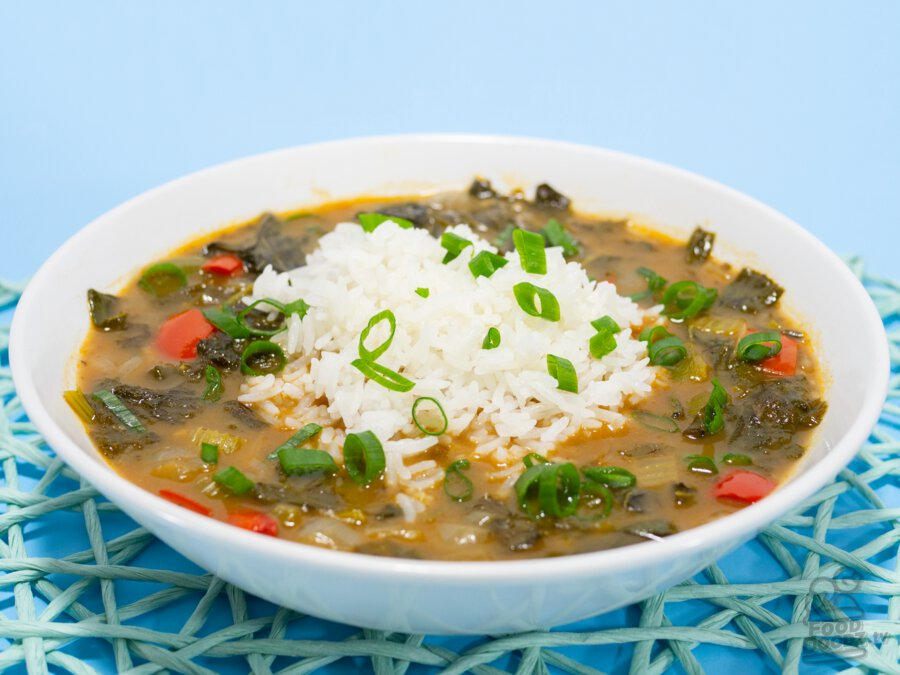 A hearty and delicious bowl of vegan green gumbo with white rice