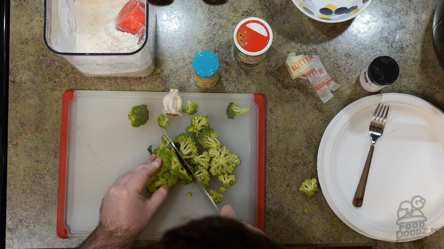 Chopping up broccoli