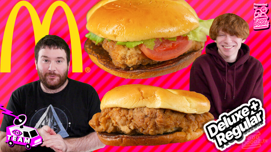 Adam stands looking surprised in front of two giant McDonalds Crispy Chicken Sandwiches, Regular and Deluxe, Conner smiles on the other side. A giant golden arch logo and a pink and red striped background is behind them.