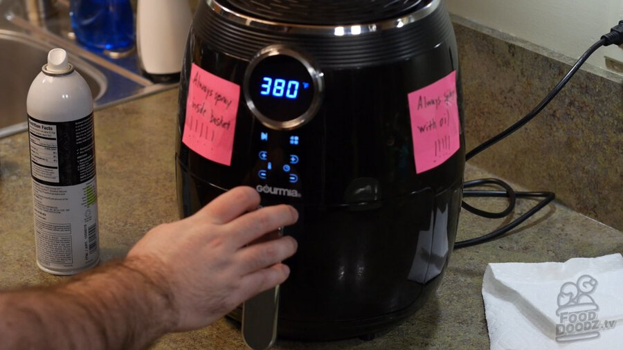 Setting the air fryer to 380 degrees farenheit