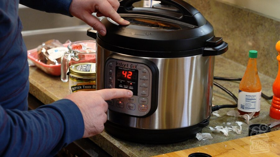 Setting instant pot timer for 42 minutes