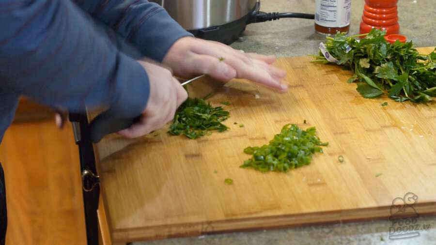 Chopping up parsley
