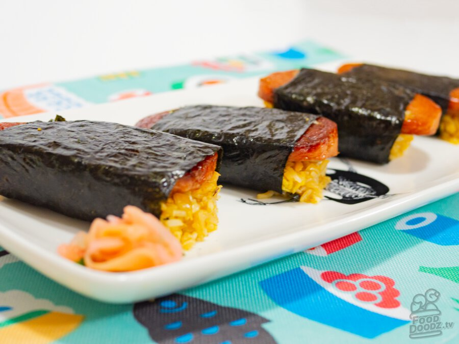A big delicious plate of fried rice spam musubi. (Hawaiian Japanese Sushi Onigiri)