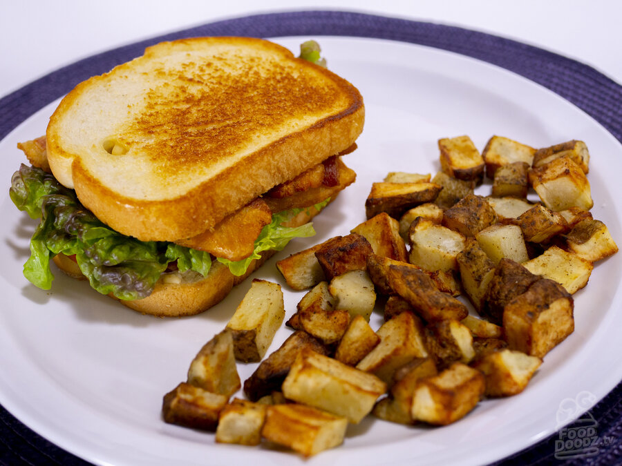 A epic BLT with a side of Air Fryer Potatoes