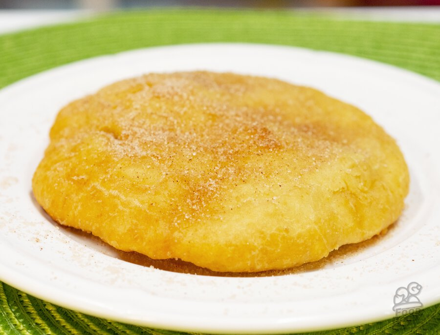 Indian (native american) fry bread topped with cinnamon and sugar!