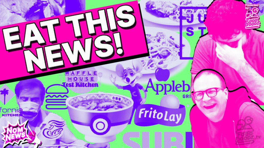 Collage of food related images. California Pizza Kitchen, Waffle House Test Kitchen, Applebee's, Shake Shack, Eat JUST, Frito Lay, Subway, and Panera Bread logos. Pictures of plates of pasta, a Pokemon beef bowl, a cricket ramen bowl, and a crazy guy eating through a COVID mask. Bright 90s graphics saying