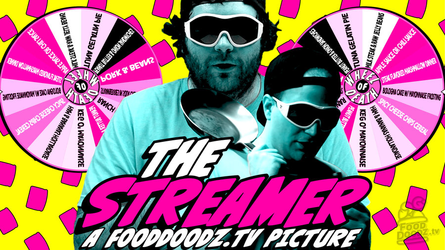 Two large figures colors in blue light wearing very large sunglasses and a black baseball hat backwards. One stands in front looking downward while holding a frying pan on his shoulder and a microphone in the other. The other man is in the background. They are in front of a bright yellow background with pink game show wheels and pink pattered toast. The text The Streamer A FoodDoodz.tv Picture is at the bottom.