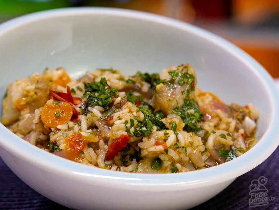 A big delicious bowl of chimichurri chicken rice