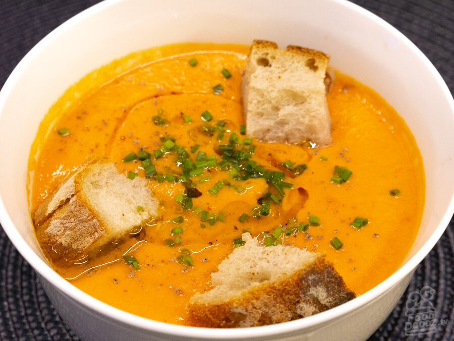 A big delicious bowl of super flavorful and filling gazpacho