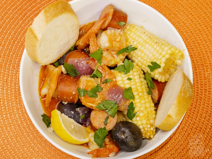 A bowl of our supremely spicy shrimp boil.