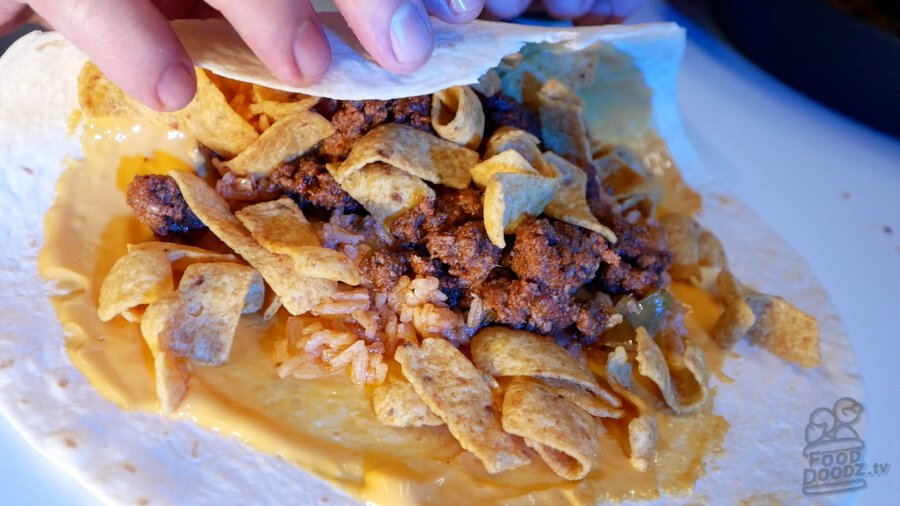 Our own homemade version of the now discontinued Beefy Fritos Burrito from Taco Bell.