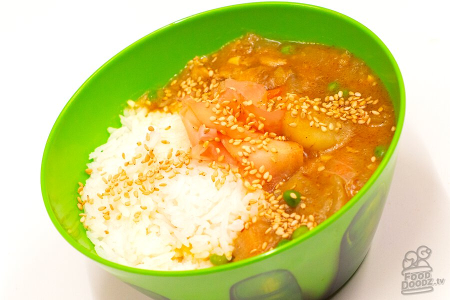 A bowl of our delicious scratch-made Japanese chicken curry.