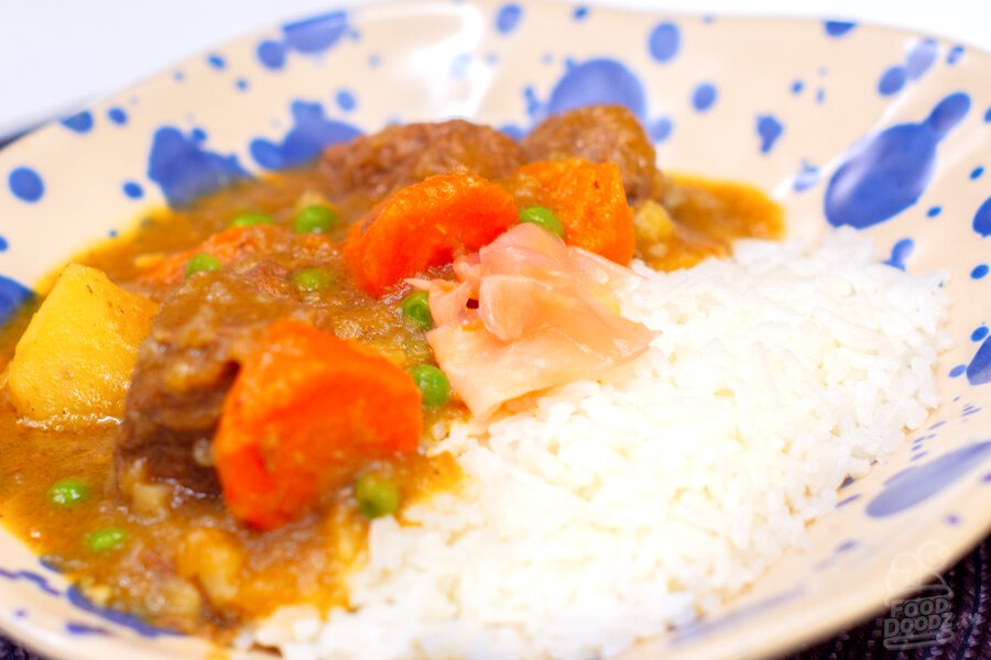 A bowl of our delicious scratch-made Japanese beef curry.