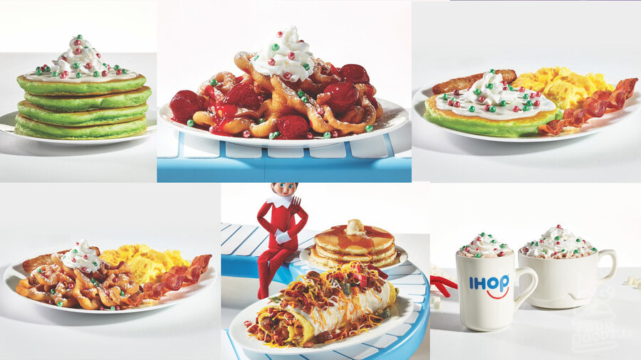 5 seasonal items from IHOP. Green pancakes with frosting, funnel cake with strawberries, ham and sausage omelette, marshmellow hot chocolate, and a combo plate.