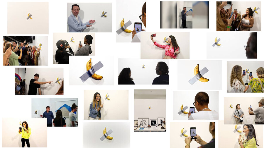 collage of images from Art Basel Miami 2019 of the infamous duct-taped banana