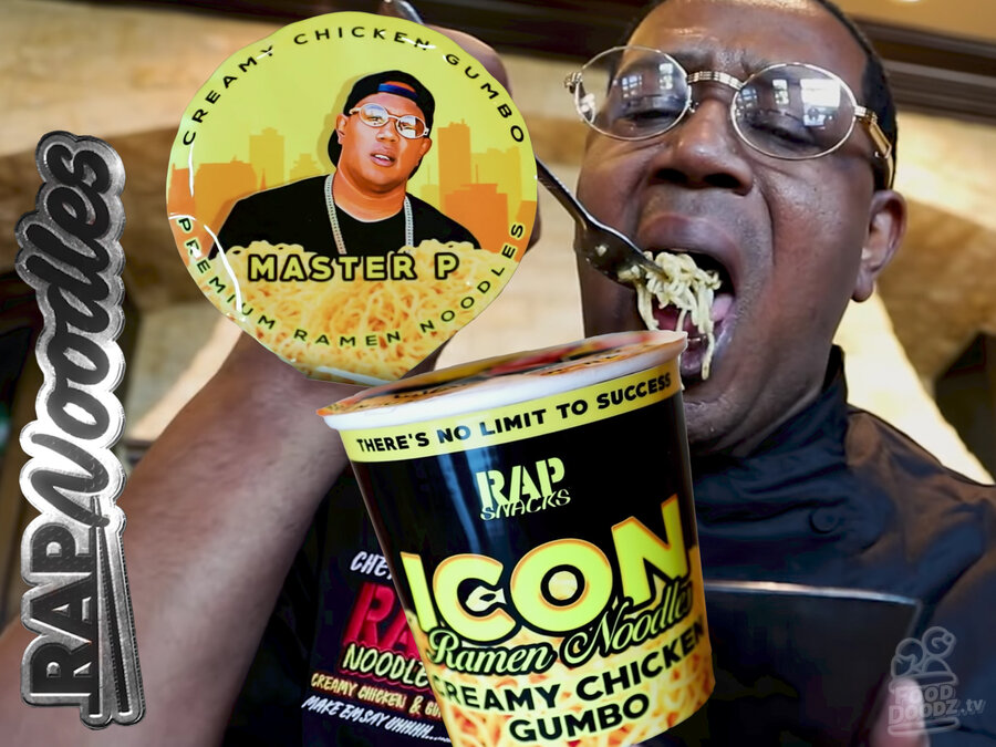 Master P spoons a heaping helping of Creamy Chicken Gumbo Rap Snacks Rap Noodles ramen noodles into his mouth. The packaging and logo surround him in additional images.