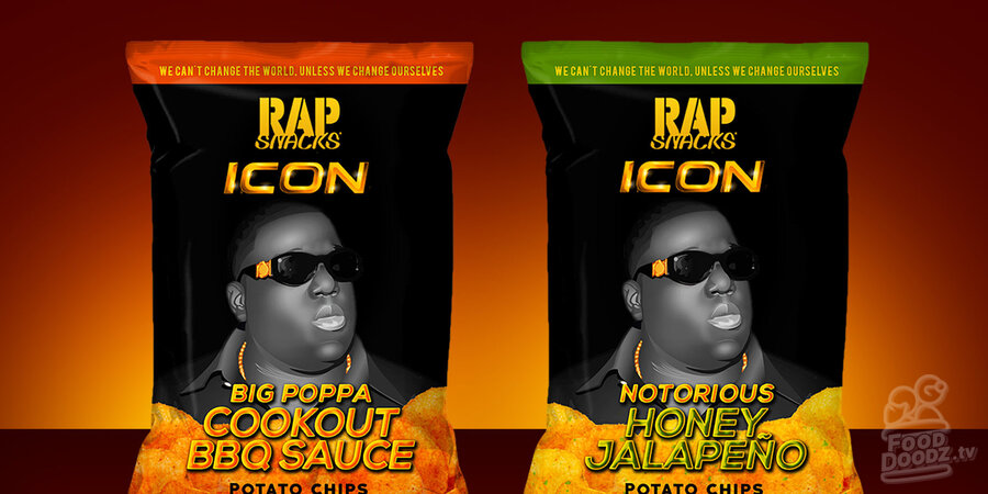 Rap Snacks chips new Biggie Smalls ICON flavors. Big Poppa Cookout BBG Sauce. Notorious Honey Jalapeno