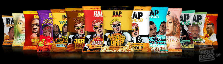 14 colorful snack sized chip bags spread horizontally across the screen. Rap Snacks hip hop corn snacks.