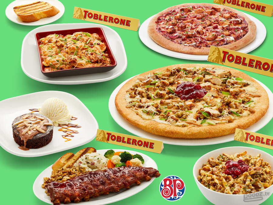 collage of Boston Pizza Christmas Menu items. The Christmas Pizza, Cranberry BBQ Ribs, Christmas Poutine, Bourbon BBQ Chicken Pizza, Smoked Gouda & Poblano Pepper Ravioli, Chocolate Almond Lava Cake