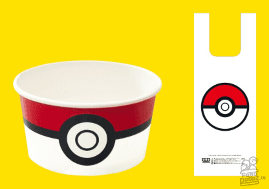 Take-out orders come in a Pokéball themed paper bowl and plastic bag featuring the Pokéball icon