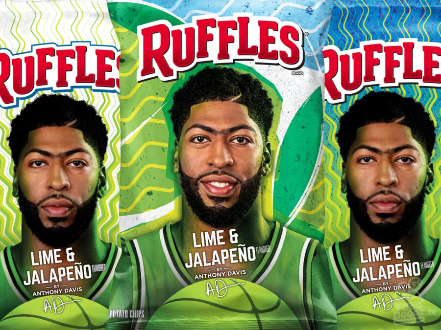 Three limited time bags of Lime & Jalapeno Ruffles featuring designs chosen by Anthony Davis