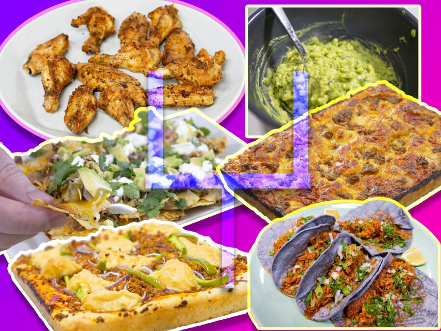 A retro future color scheme accompanies 6 dishes by the FoodDoodz. Pan Pizza, Vegan Pan Pizza, Ultimate Nachos, Carnitas, Guacamole, Air Fried Chicken Wings
